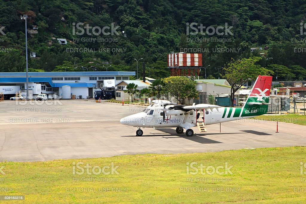 Planes local airlines at Seychelles International Airport on Mahe Island stock photo