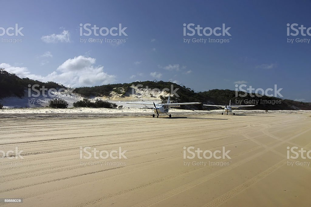 Planes on the beach stock photo