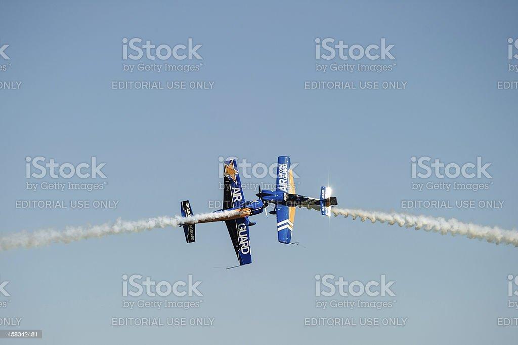 Planes passing close stock photo