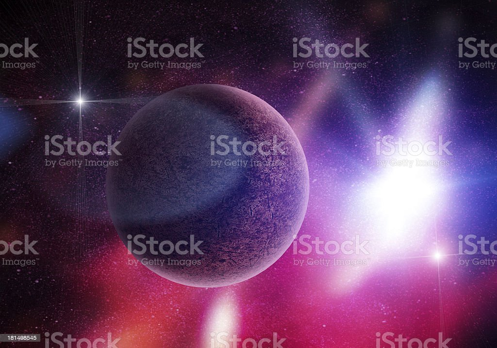 planet among stars in deep space royalty-free stock photo