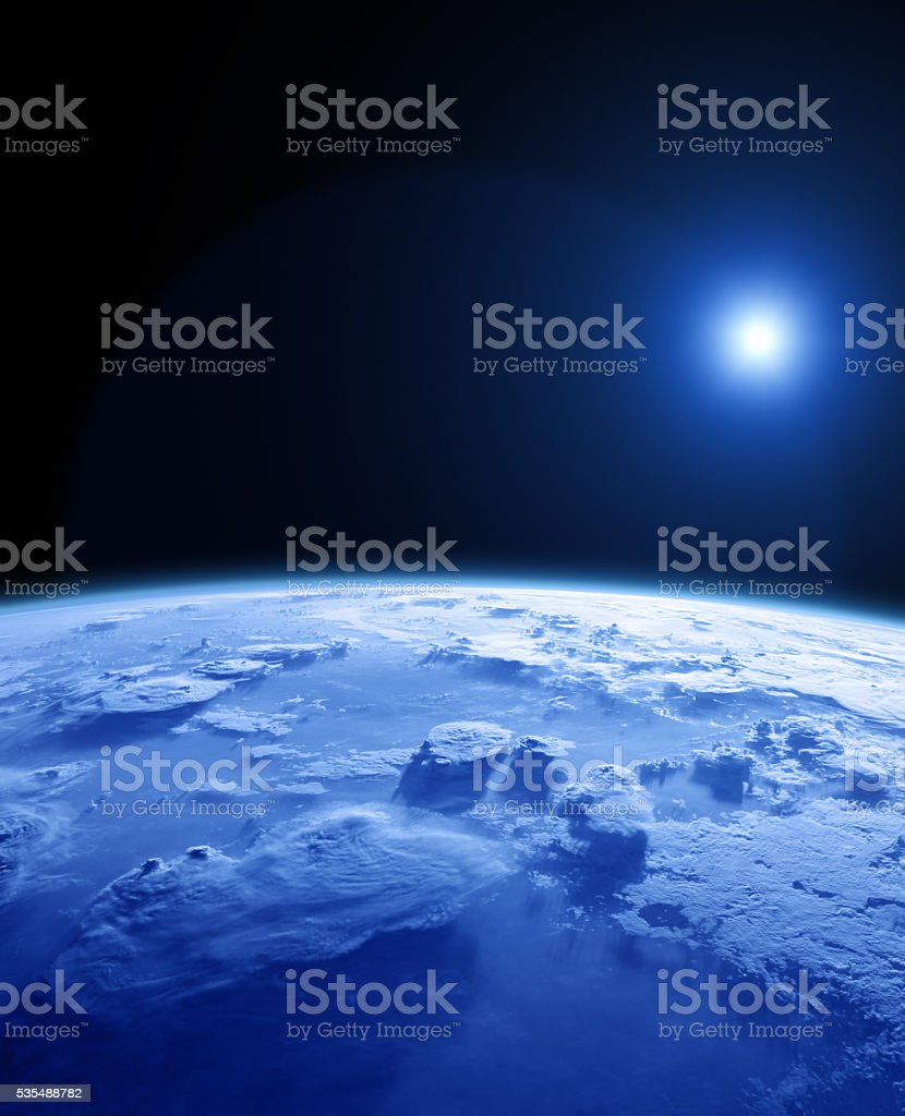 Planet and Sun on a dark background. stock photo