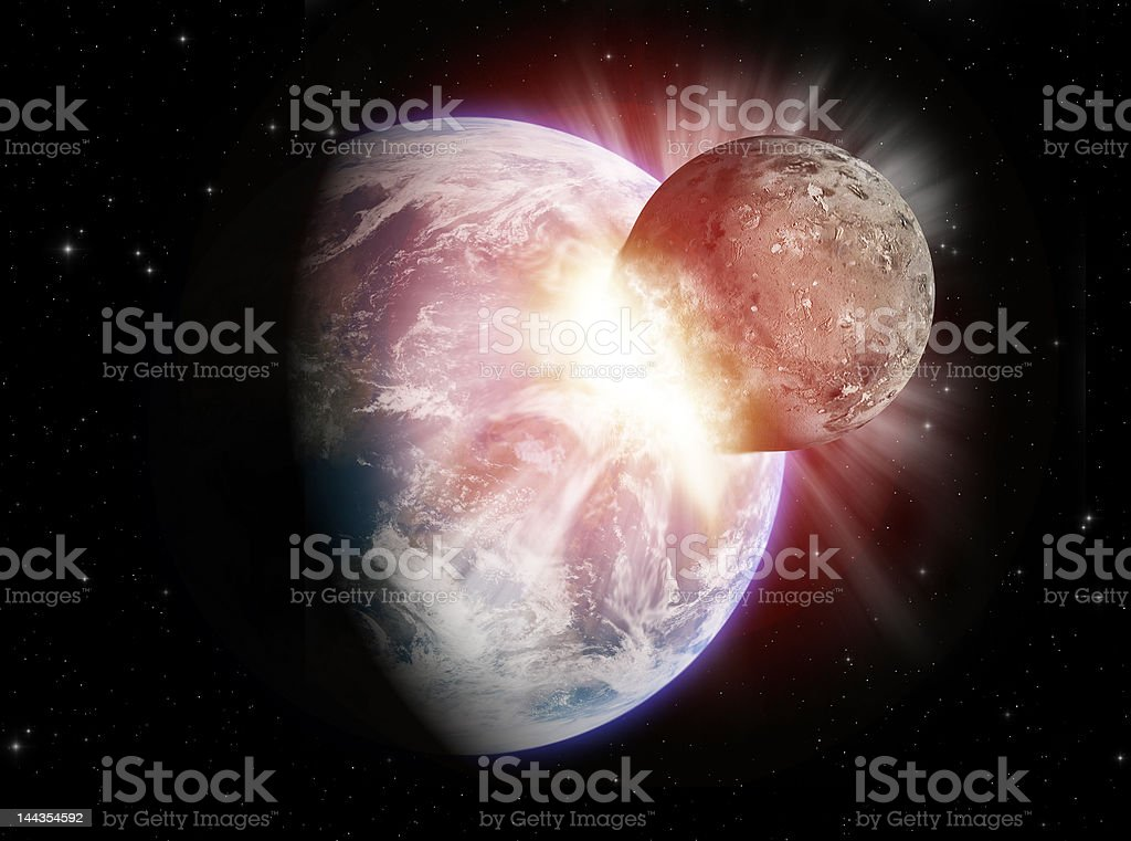 Planet collision royalty-free stock photo