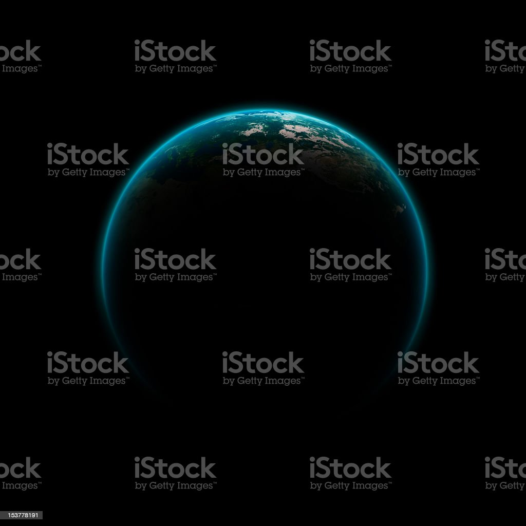 Planet Earth against black background during eclipse royalty-free stock photo