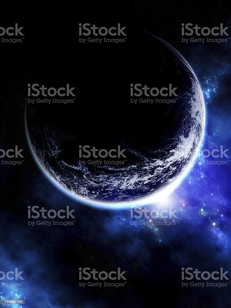 Planet Earth and blue stars in space stock photo
