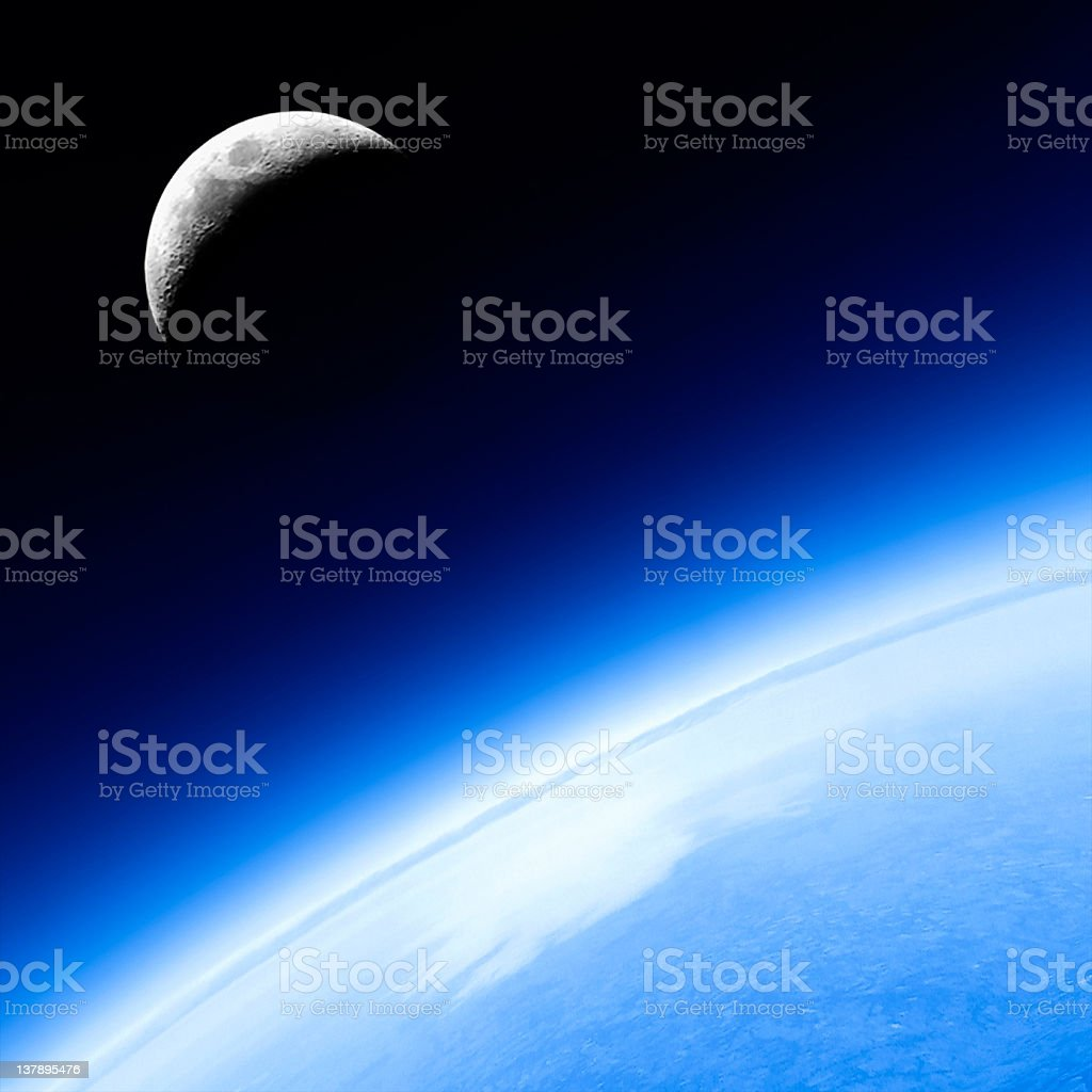 planet earth and moon royalty-free stock photo
