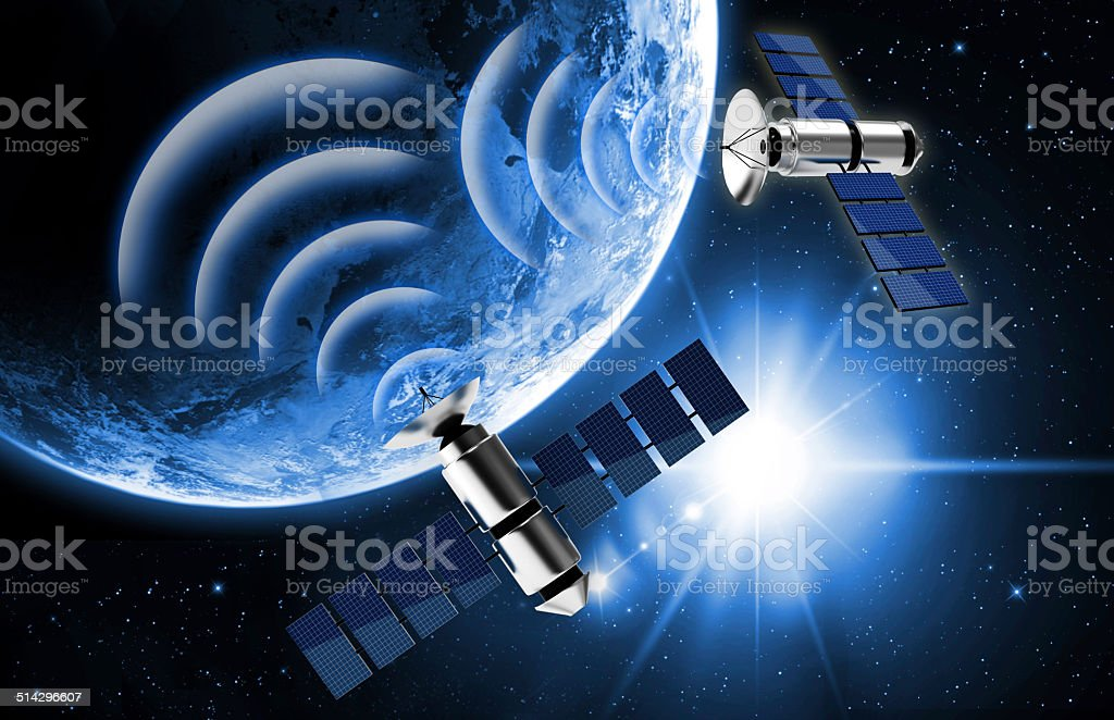 planet earth and satellite in space stock photo