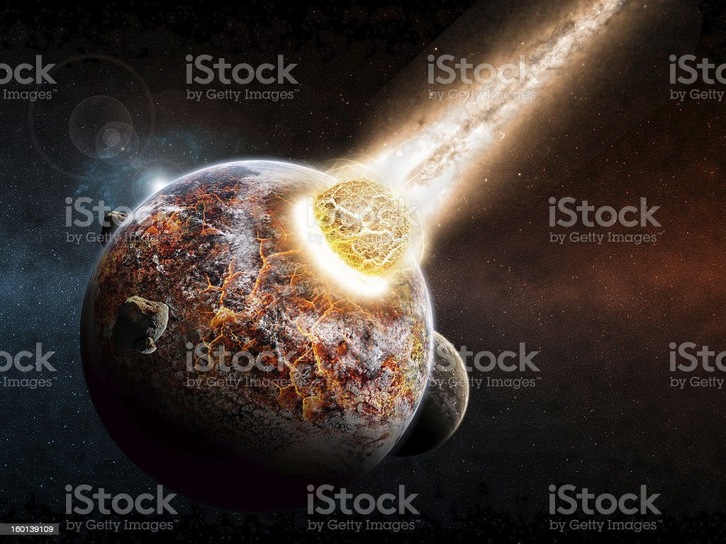 Planet earth armageddon stock photo