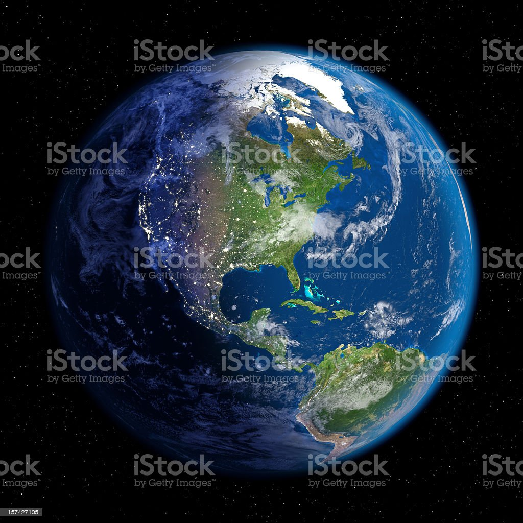 Planet Earth at Night & Day (North America) stock photo