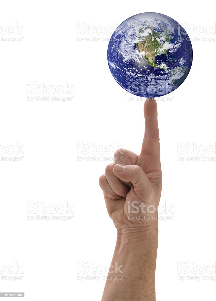 Planet Earth Balanced Finger Tip, Hand Holding Globe, White Background stock photo