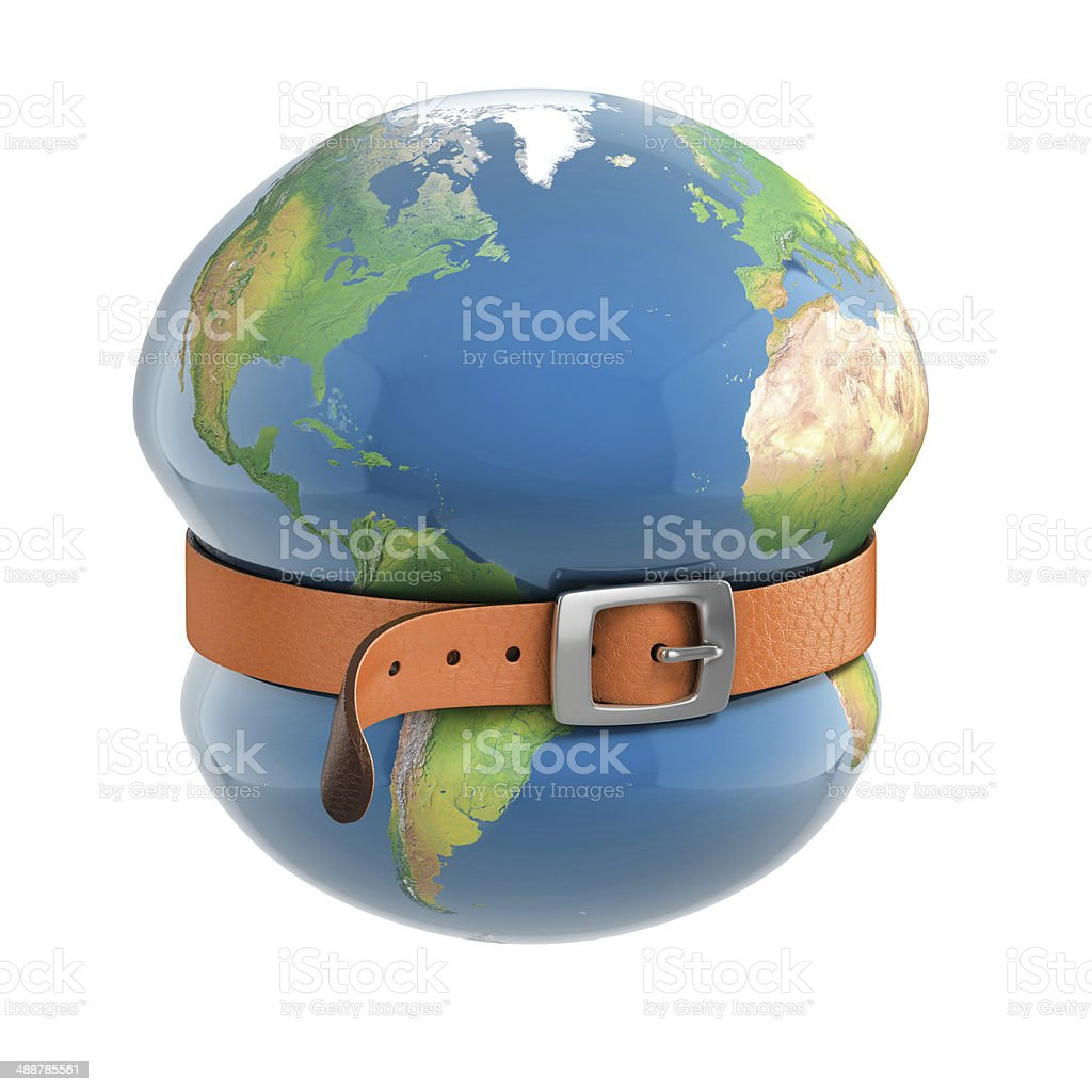 planet earth belt tightening - global financial crisis stock photo