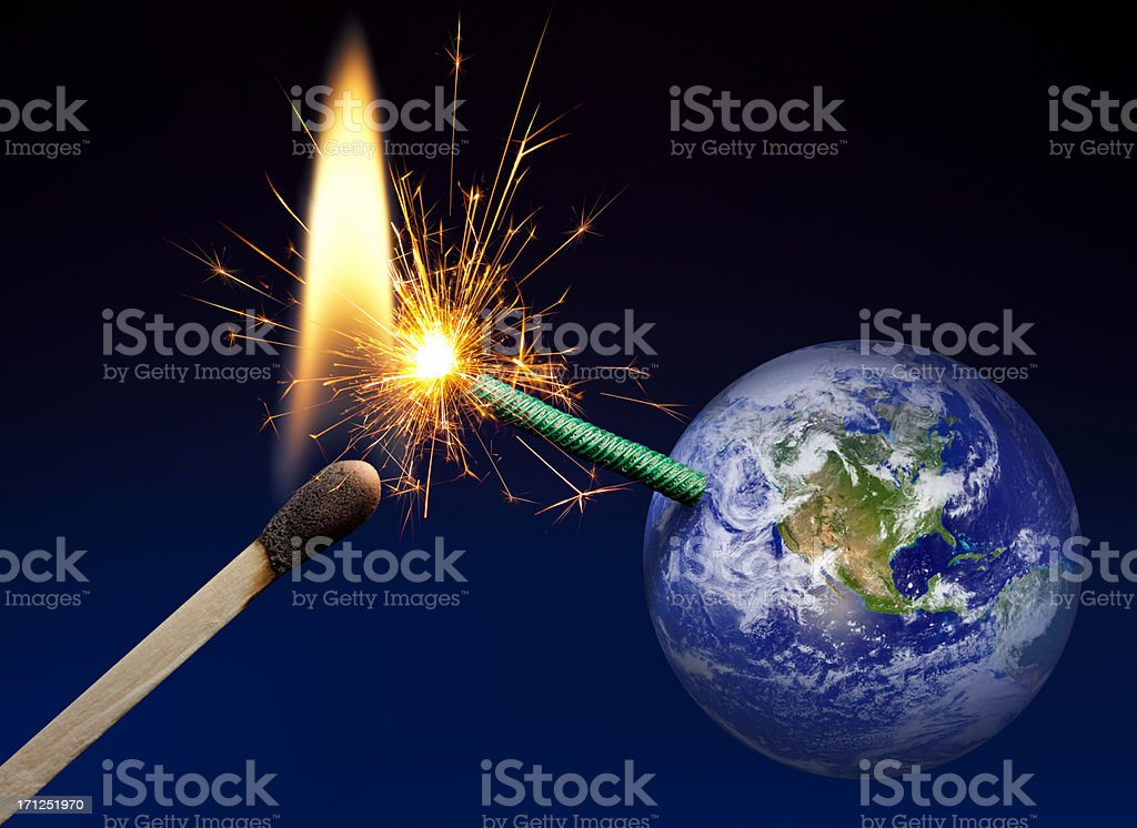 Planet Earth Bomb: Fuse is Lit, Time Short royalty-free stock photo
