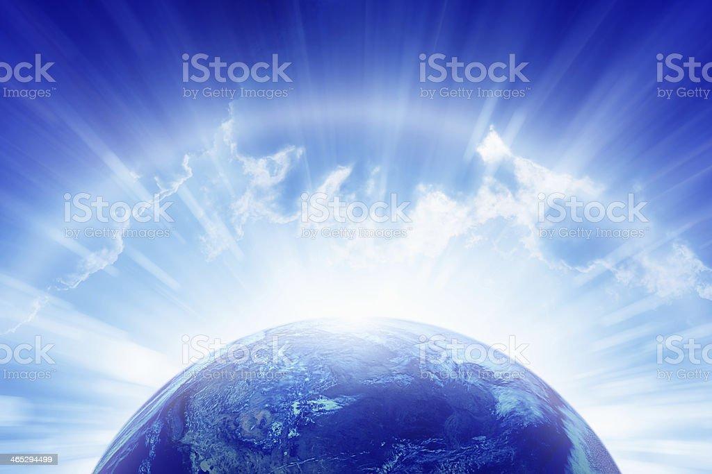 Planet Earth, bright sun, heaven stock photo