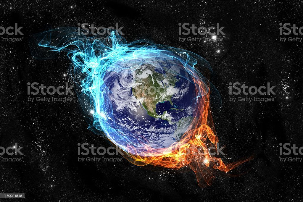 Planet Earth engulfed in fire stock photo