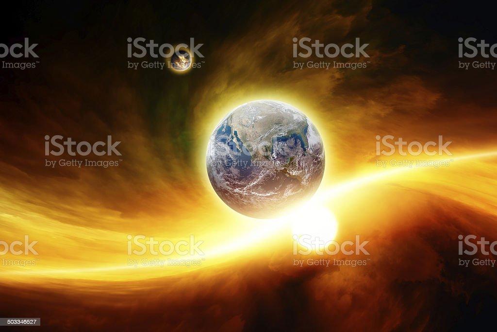 Planet Earth in danger stock photo