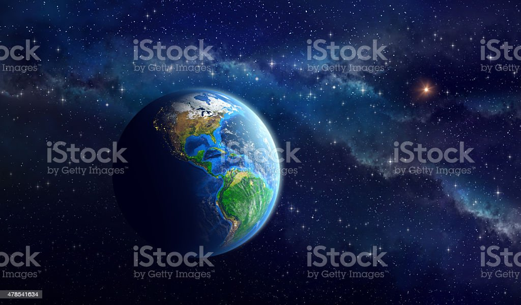 Planet Earth in deep space stock photo