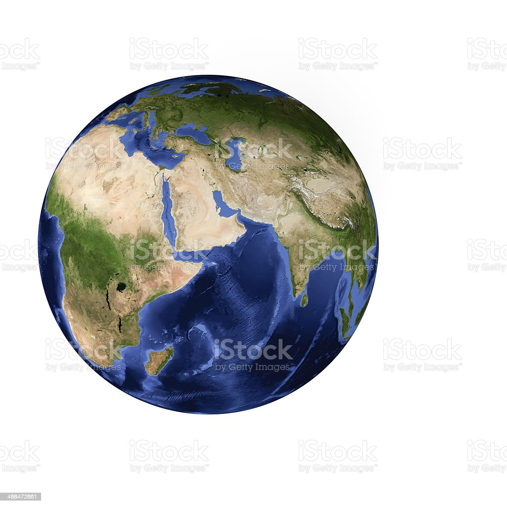 Planet earth in July - Europe, Africa, Arabia, Asia, India stock photo