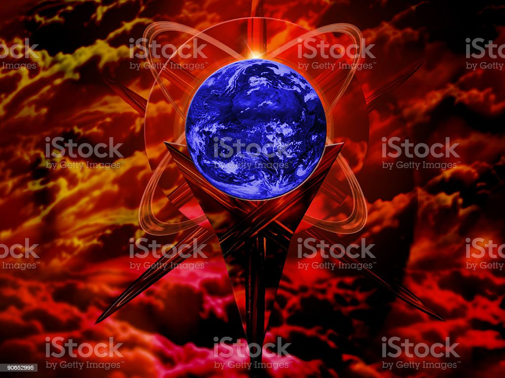 planet earth in the hell royalty-free stock photo