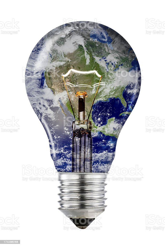 Planet Earth Lightbulb with Clipping Path (space imagery by NASA) stock photo