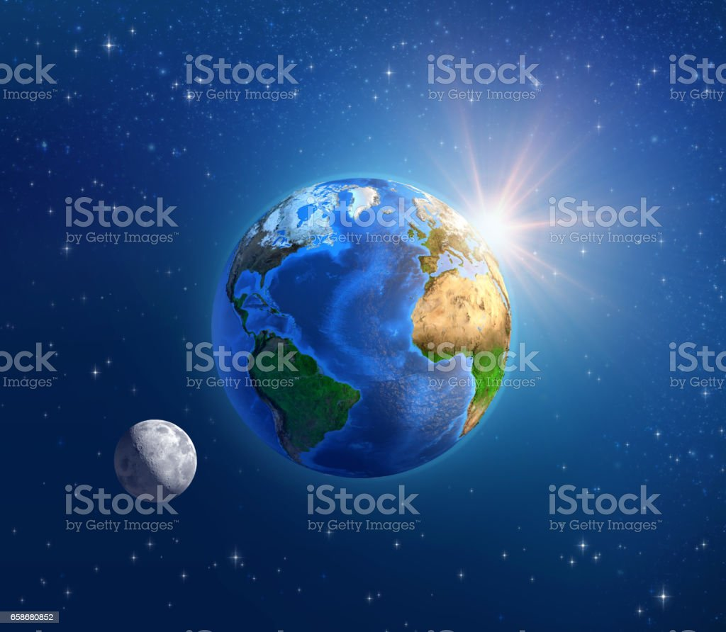 Planet Earth, moonlight and sunshine in deep space stock photo