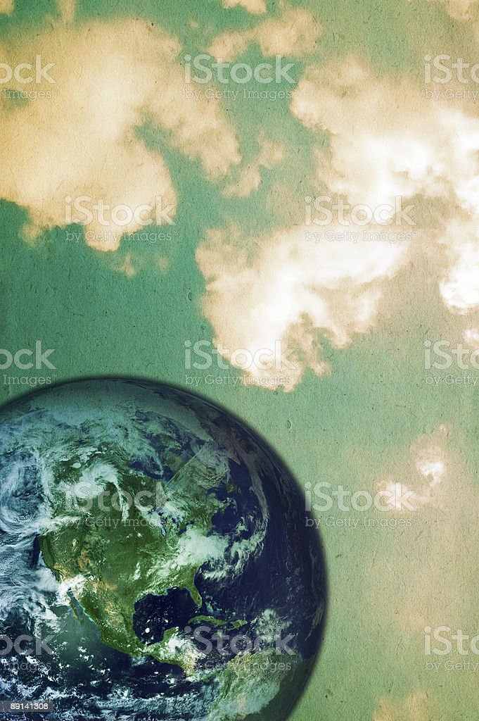Planet earth on cloudy background royalty-free stock photo