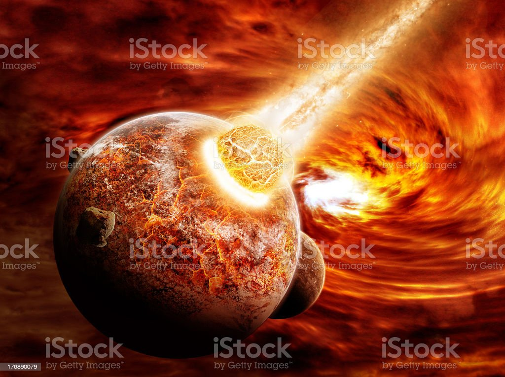 Planet earth on fire during Armageddon  royalty-free stock photo