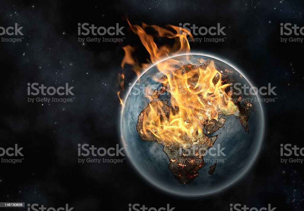 Planet Earth on fire viewed from space royalty-free stock photo