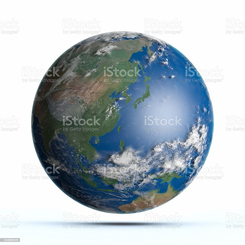 Planet Earth Pacific Ocean, Japan, Australia, China stock photo