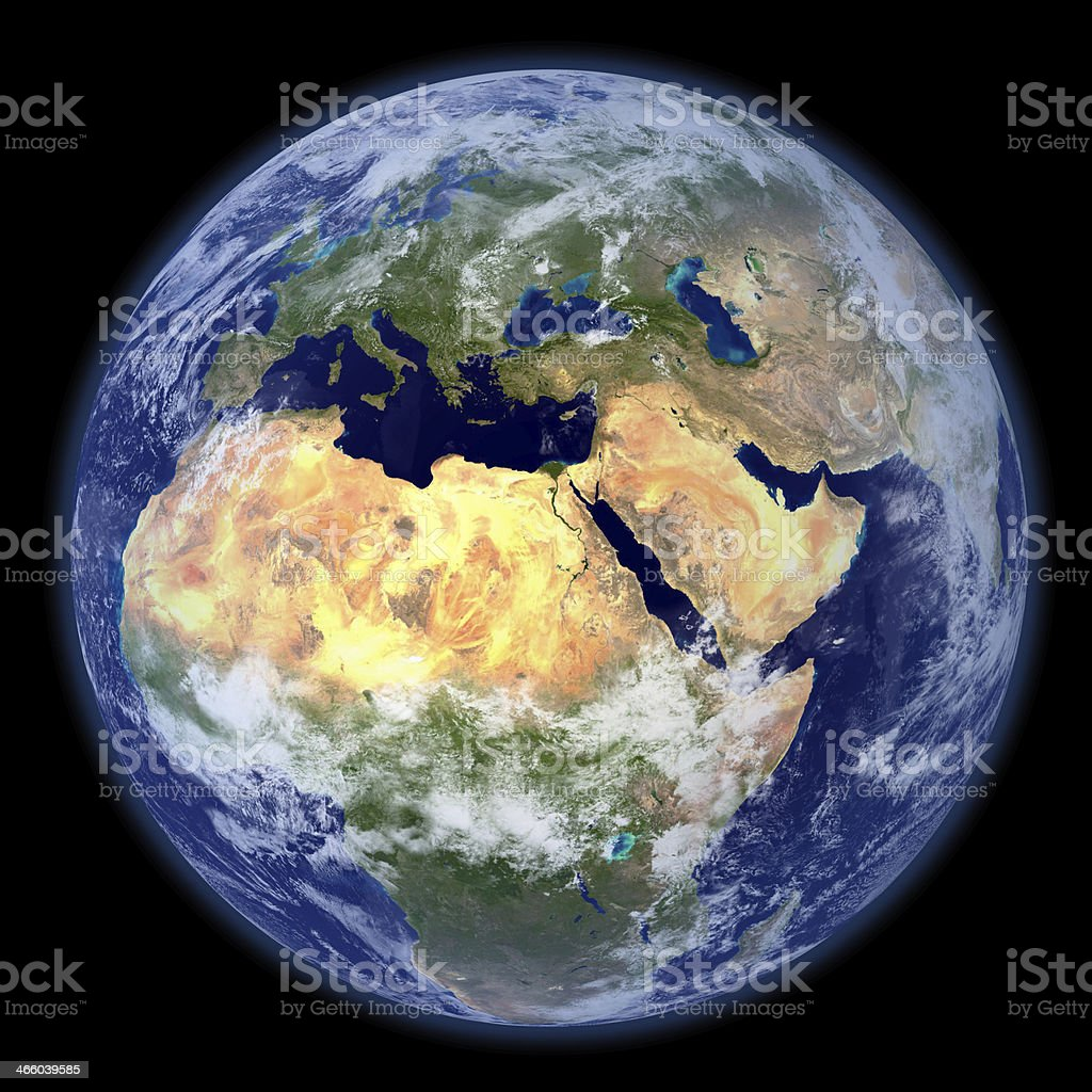 Planet Earth seen from space with Africa most visible stock photo