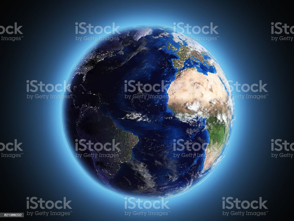 planet Earth shines in space 3d render stock photo