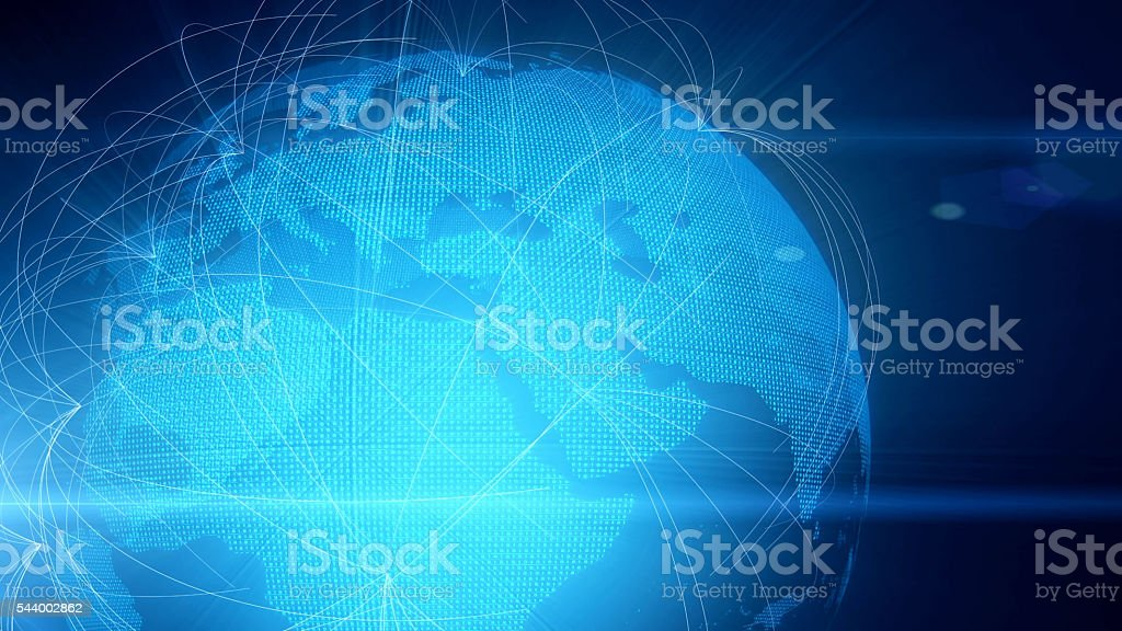 Planet Earth sourrounded by a global computer network stock photo