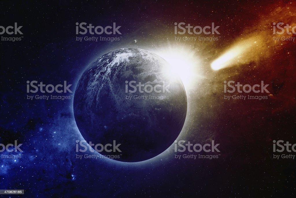 Planet Earth, sun, comet stock photo