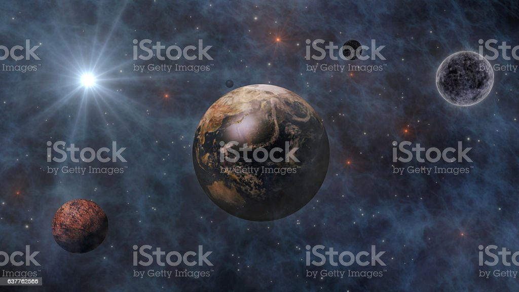 Planet Earth, Sun, Moon and Planets In Space 3D Renderin stock photo