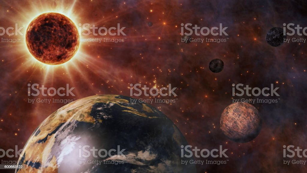 Planet Earth, The Sun, The Moon and Planets In Space stock photo