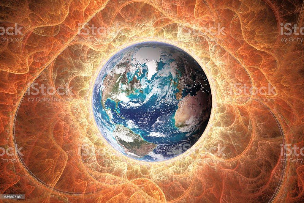 Planet earth towards sun stock photo