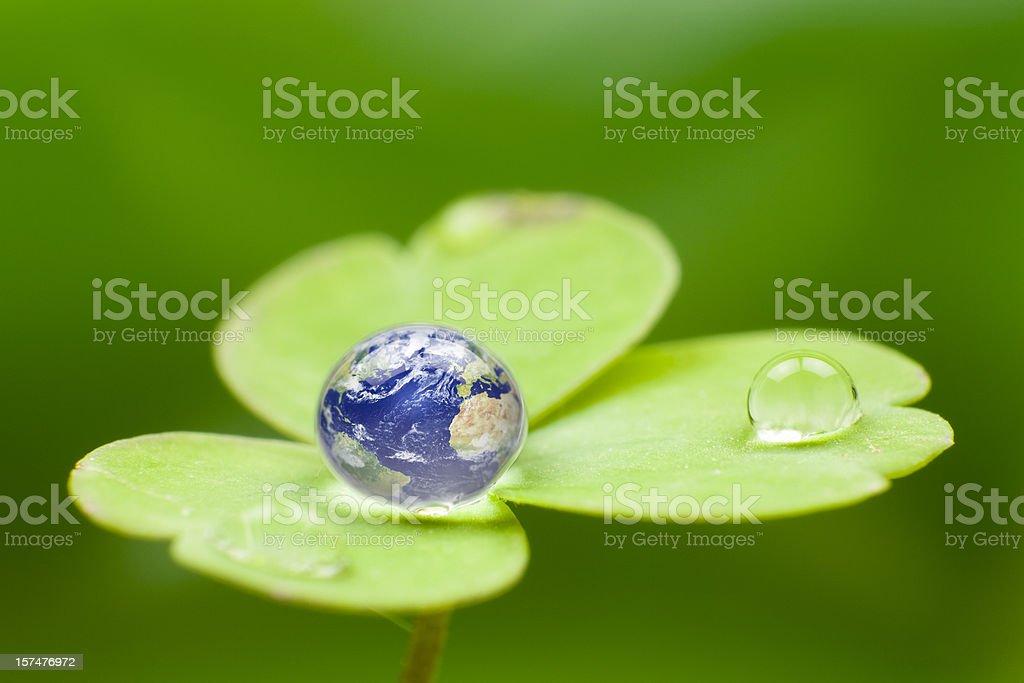 Planet earth waterdrop. Green Water Globe World Nature Drop royalty-free stock photo