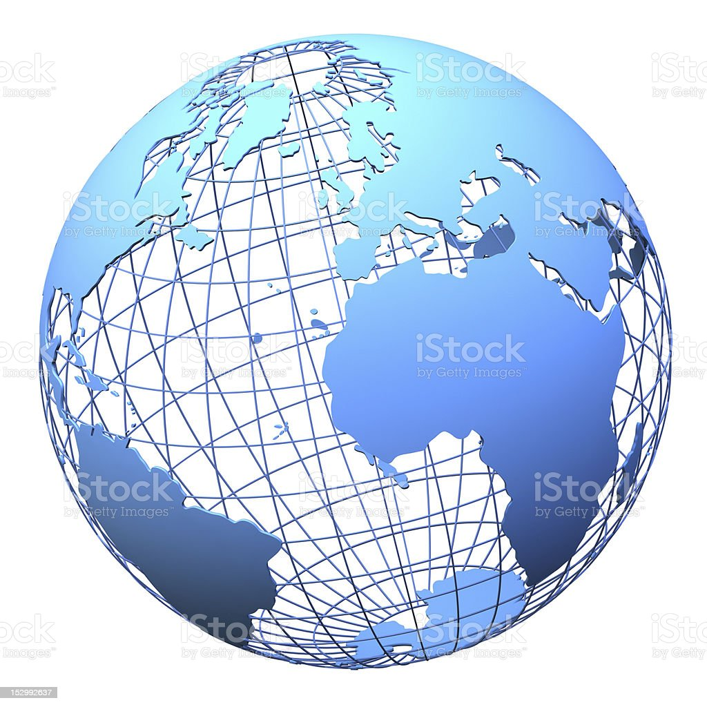 Planet earth wireframe design isolated stock photo