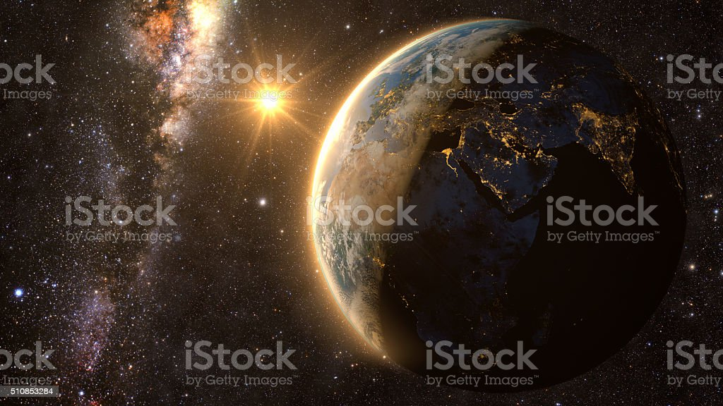 Planet Earth with a spectacular sunset stock photo