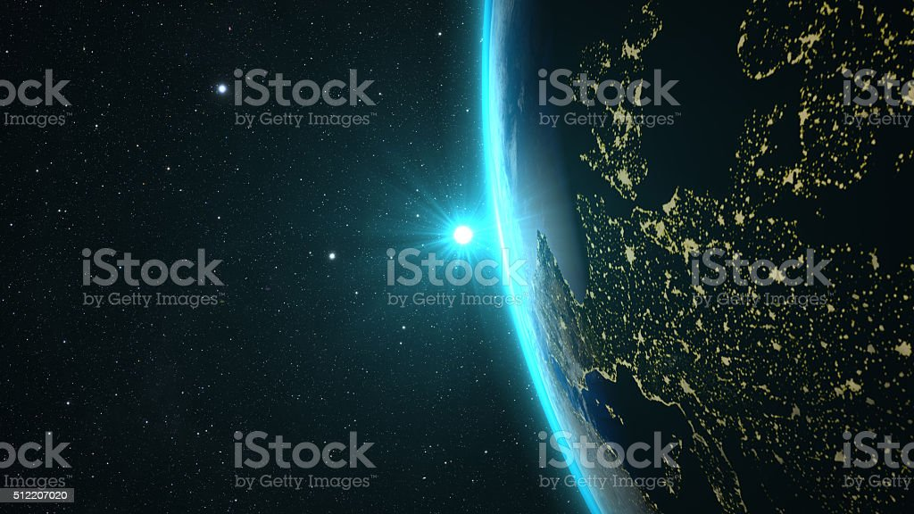 Planet Earth with a spectacular sunset, stock photo
