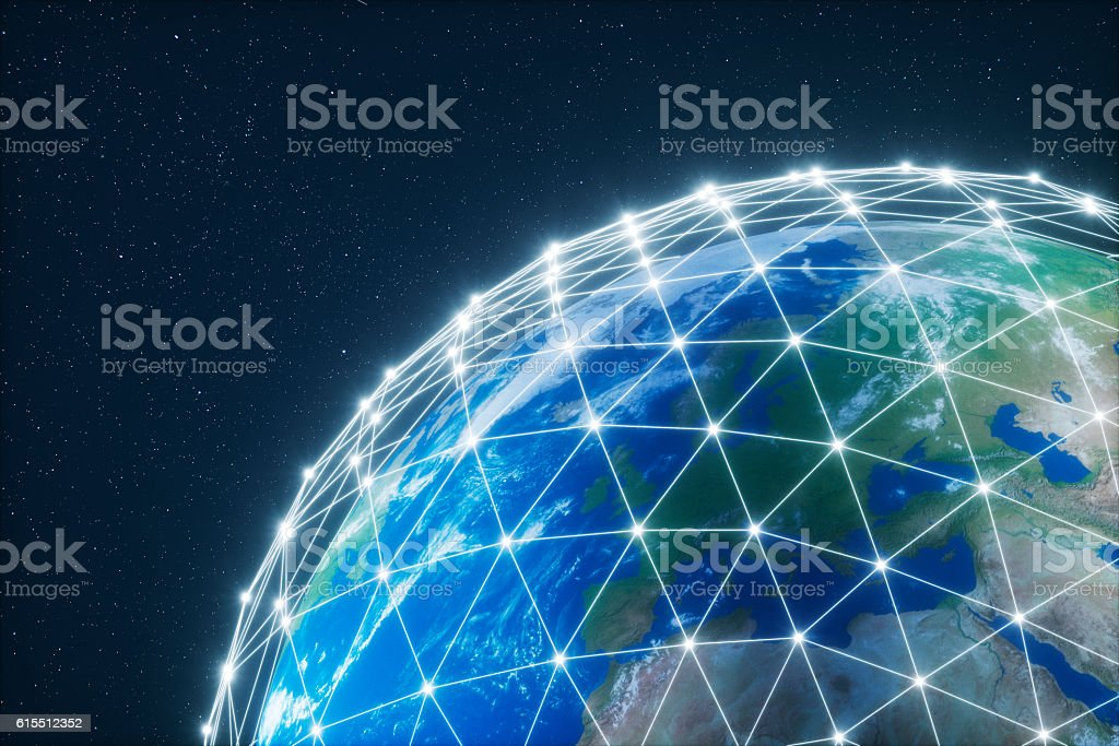 Planet Earth with protective shield stock photo