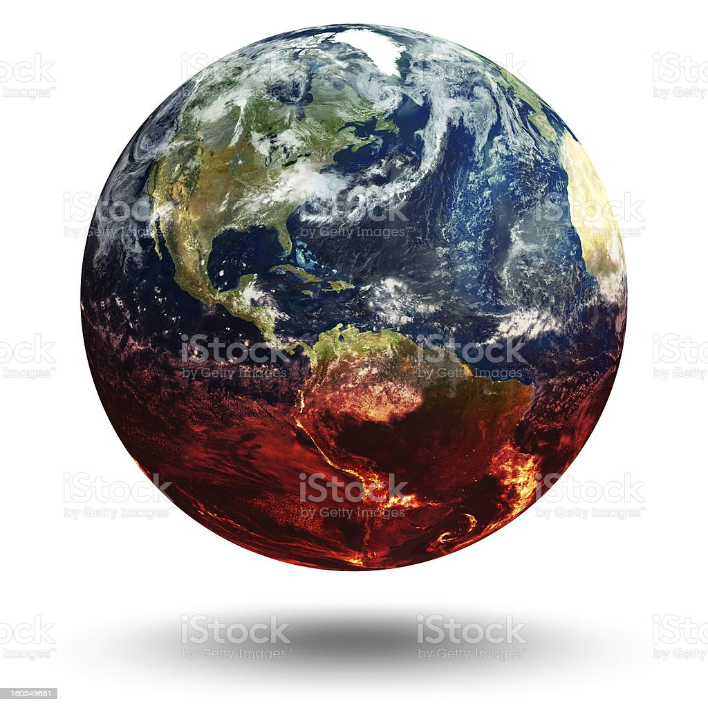 Planet earth with red shading representing global warming royalty-free stock photo