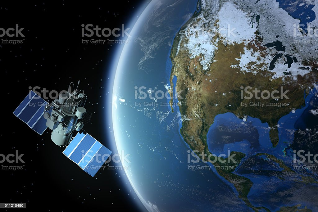 Planet Earth With Satellite (North America - USA ) stock photo