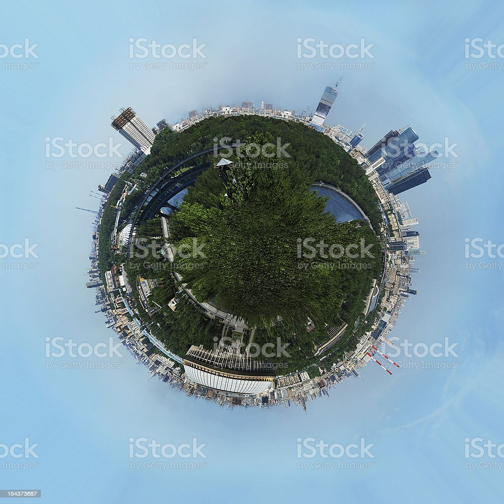 Planet earth with skyscrapers and buildings royalty-free stock photo