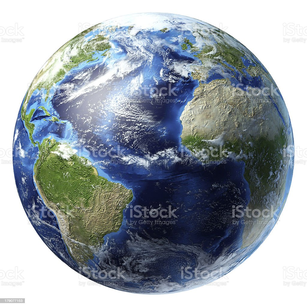 Planet Earth with some clouds. Atlantic ocean view. stock photo