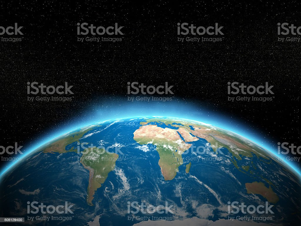 Planet earth with space stock photo