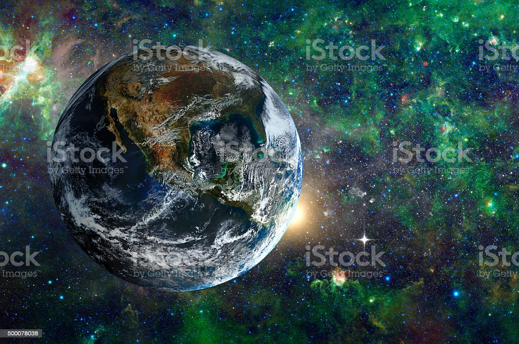 Planet in the background galaxies and luminous stars. stock photo