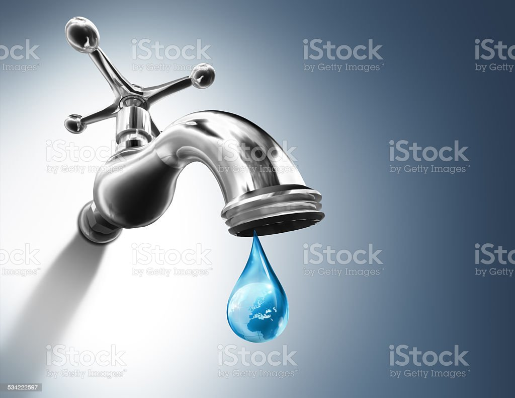 Planet in water drop - water conservation concept - Europe stock photo