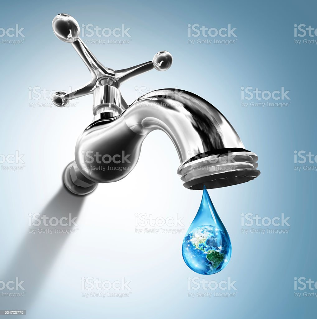 Planet in water drop - water conservation concept - Usa stock photo