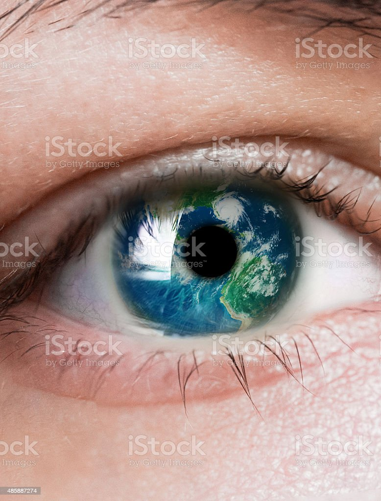 planet is in the eye stock photo