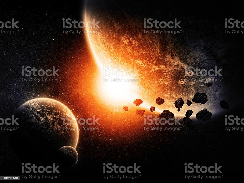 Planet landscape artwork royalty-free stock photo