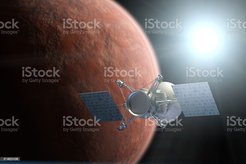 Planet Mars mission stock photo